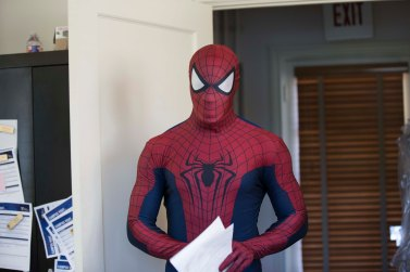 Photographer Sarah Owens finds Spiderman at the Oneal-Sells Administration Building.